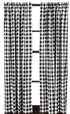 Lined Panel Curtains 80X84 In Buffalo Black Check Primitive Country Cotton