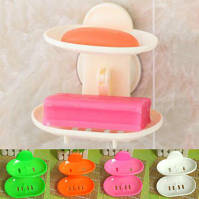 Plastic Double Layer Soap Box Holder Bath Basket Storage Rack with Suction Cup