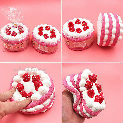 Squeeze Stretch Squishy Colossal Strawberry Cake Scented Super Slow Rising Toy