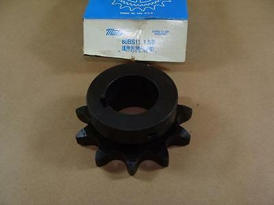 """New Martin 80Bs11 Roller Chain Sprocket 1-5/8"""" Bore Hub 11 Tooth Asme #80 Pitch"""