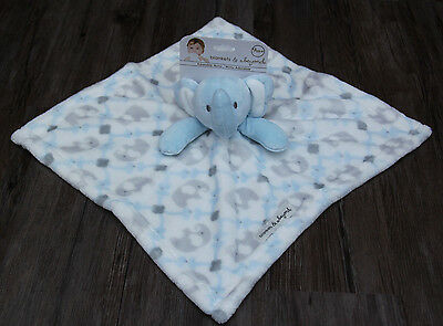 Blankets & Beyond Baby Boy Plush Security Blanket ~Elephants~ Blue, White & Gray