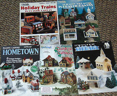 Plastic Canvas Lot 5 Pattern Books - Holiday Villages & Train -