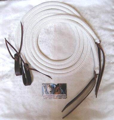White Split Reins with Water Straps and Leather Poppers CHOICE OF LENGTH