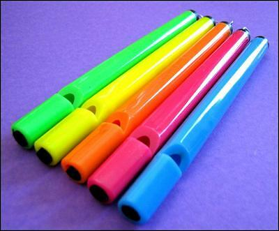 Bulk Lot of 10 Mixed Fluoro Color Pull Whistles Kids Party Favor Novelty Toy NEW