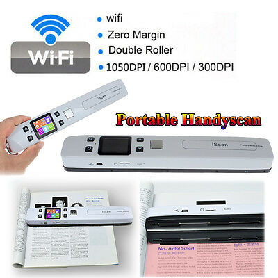 Wireless Wifi 1050DPI iScan Portable LCD Scanner A4 Document Photo Receipts Book