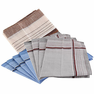 "Pack 100% Cotton Mens Handkerchiefs 40cm 14.5"" Square Super Soft & Washable"
