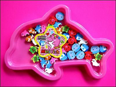Bulk Pack 40 Mini Under The Sea Rubber Erasers Pink Dolphin Box Party Favor NEW