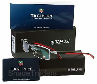 TAG Heuer AUTOMATIC SEMI RIMLESS OPTICAL GLASSES FRAME  BLACK_RED_PURE 0821 002