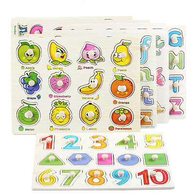 Alphabet /Fruit Wooden Jigsaw Children Kids Baby Learning Educational Puzzle Toy