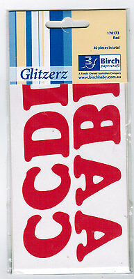 Iron On Letters 1 Pkt 40 x 35mm Alphabet Pieces RED MATT Transfer to Fabric
