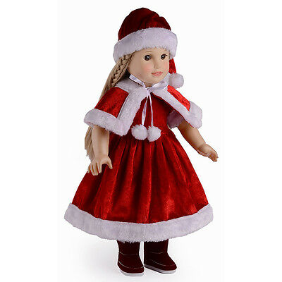 Christmas Dolls Clothes Dress Hat Shawl Set for 18'' American Girl Doll Kids Toy