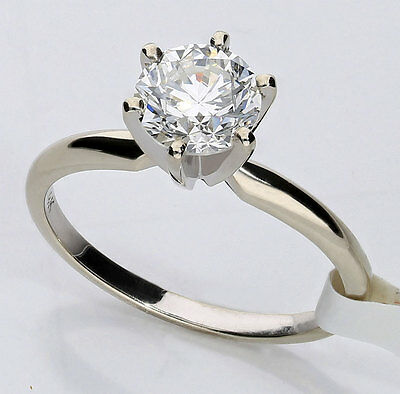 GIA diamond solitaire engagement ring 14K white gold FVS2 round brilliant 1.39CT