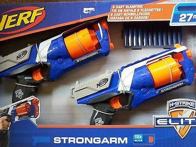 Nerf N-Strike Elite.Strongarm Blaster Darts x 2 Guns New Boxed.Hasbro