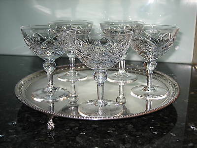 ROYAL BRIERLEY CRYSTAL BRAEMAR CHAMPAGNE GLASSES COUPES x5 SIGNED EX. CON