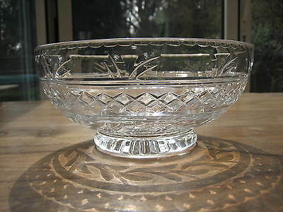 "Stuart Crystal Imperial Pattern Bowl 8"" Trifle Fruit Signed Lovely"