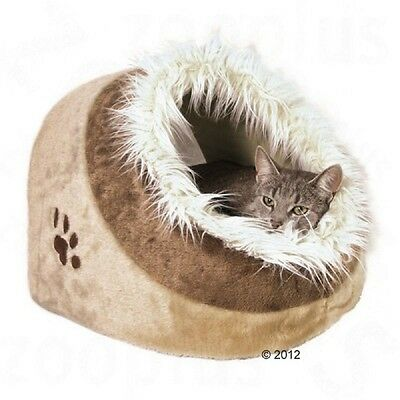 Beige Brown Cosy Cat Cave Den Bed Cuddly Hideaway Napper Privacy Cushion