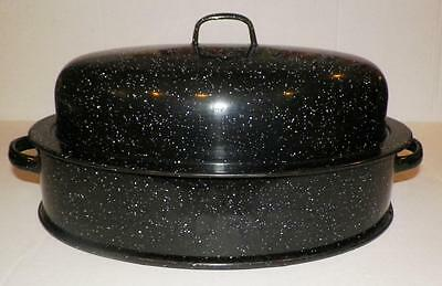 GraniteWare Double Wall Roasting Pan+Lid White Specks on Black SAVORY Jr.15 x 9""