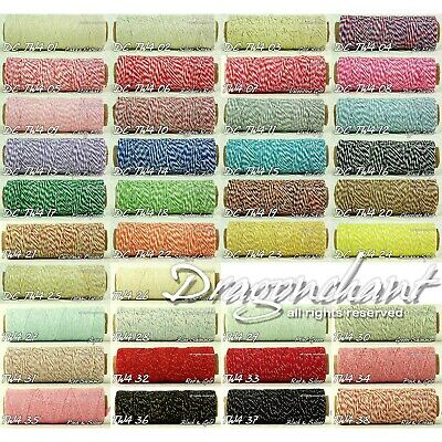 CLEARANCE! 100 Yard Spool 4ply Cotton Bakers Twine Roll of 1mm 38 divine colours