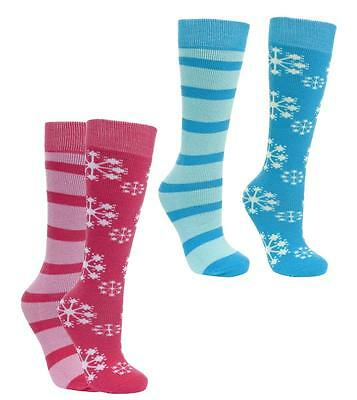 Trespass Lori Kids Ski Tubes Socks 2 pack Girls Warm Winter Socks