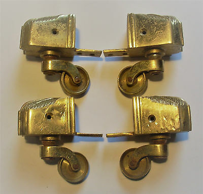 Set 4 Vintage Brass Castors with Claw Feet