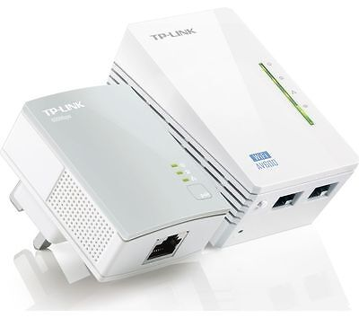 TP-LINK AV600 Wireless Powerline Adapter Kit Twin Pack Up to 600 Mbps 3 ports