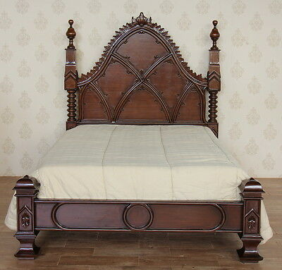"4'6"" Double Empire Bed (low footboard) Gothic Style Solid Mahogany NEW B046(LOW)"