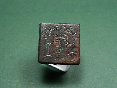 Ancient Bronze Weight Cross Sign & Letters Byzantine 400-600 Ad