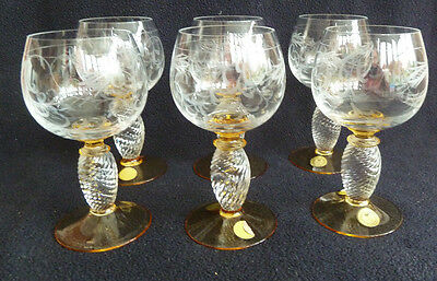 Set of SIX vintage THERESIENTHAL PIEROTH ROMER Amber & Clear Wine Glasses