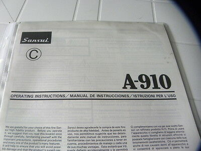 Sansui A-910 Owner's Manual  Operating Instructions Istruzioni New