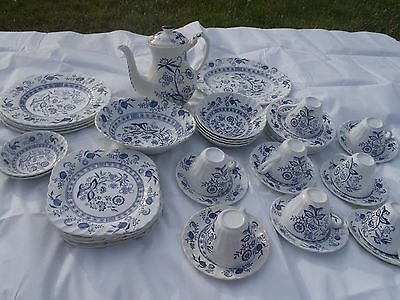 Rare Vintage Porcelain Blue Nordic,dishes Made In England Set,delft Blue Dishes