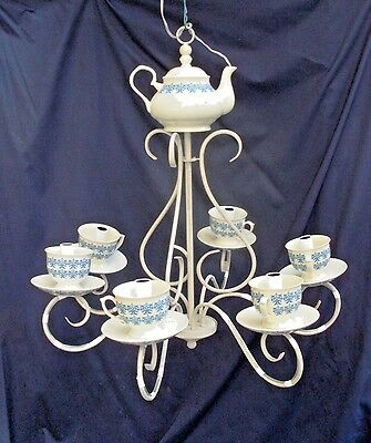 Italian Tea Set chandelier, Childrens Room, w 6 Lights, Plastic Cups and Saucers