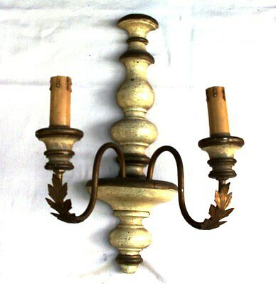 Vintage Italian Wall Sconce Golden Metal & Wood, Electric Old candlestick 2 bulb