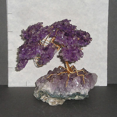 "AMETHYST GEMSTONE TREE w/ Amethyst base Bonsai 4 1/4"" high 10.2 oz 1116"