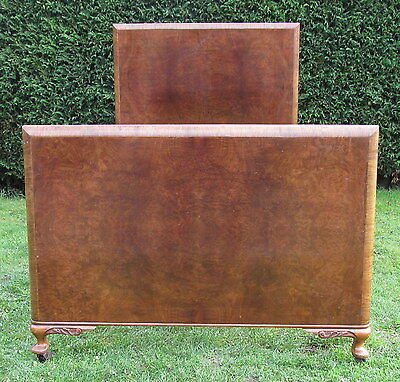 Art Deco Walnut Large Single bed with New Pine Base