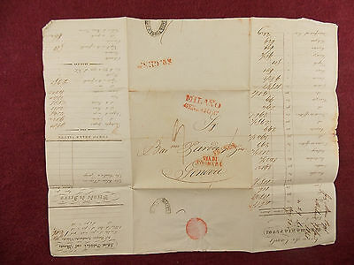 Antique 1841 Handwritten Accounting Letter - Envelope w/ Milano Cancellations