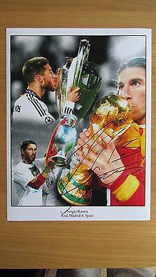 """Signed Real Madrid & Spain Sergio Ramos 16"""" x 12"""" Montage with COA & Proof"""