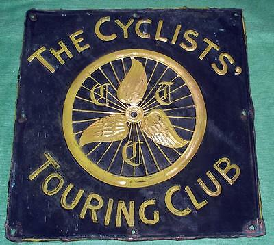 """Genuine Antique The Cyclist Touring Club Copper Sign CTC Winged Wheel 14"""" X 14"""""""