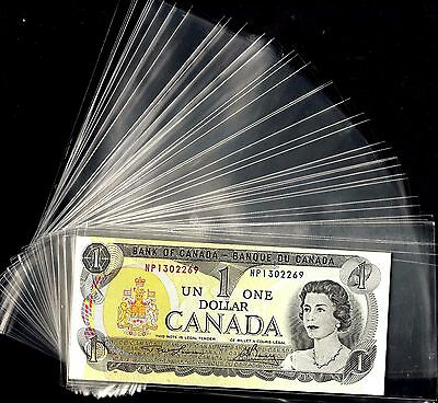 """Lot 100 Pcs Clear Plastic Banknote Sleeves Size 3 """" X  7 """""""