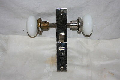 Antique Lockwood Nickel Bathroom Door Lock Set Brass Nickel on Milk Glass Knobs