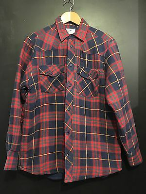 Vintage Cotton Check Shirt Quilted Flannel Jacket M 42