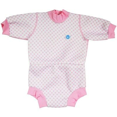 Splash About Happy Nappy 6-12-14 Months Large Baby Girls Wetsuit Pink Check UPF