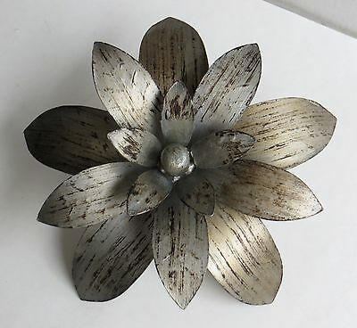 "Large 7.5"" 3D Metal Floral Flower Leaves Wood Base Finial Lamp Rod"