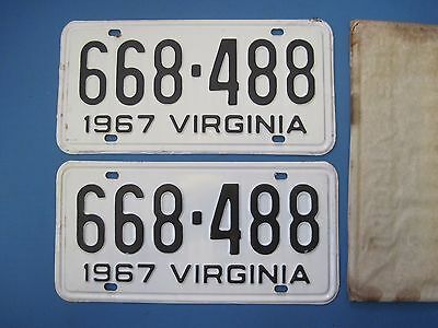 Matched pair of 1967 Virginia License Plates never used