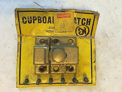 Old Nos Brass Plated Primitive Cabinet Cupboard Door Latch Lock Catch Screws