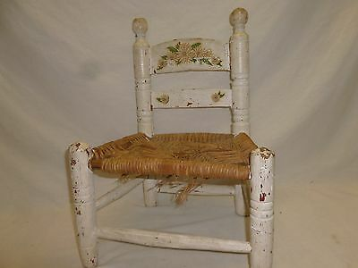 Vtg Old Primitive Rush Wood Childs Kids Toddler Shabby Chic Hand Painted Chair