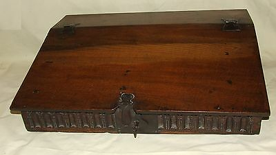 Antique 18th Century Carved Oak Bible Box / Writing Slope with Fitted Interior