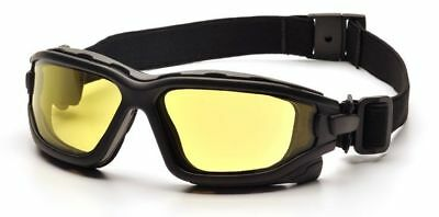 Pyramex I-Force Safety Goggle/Glasses with Black Frame and Amber Anti-Fog Lenses