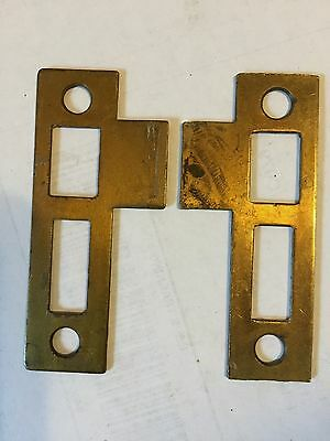 "2 Old Brass Plated Steel 3 1/4"" Door Jamb Mortise Lock Strike Plate Keeper Catch"