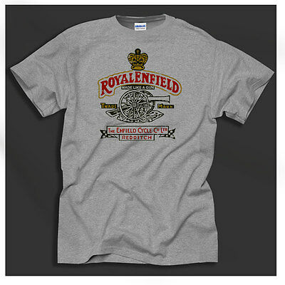Royal Enfield Gun Retro Print British Biker Motorcycle Vintage Grey T-Shirt