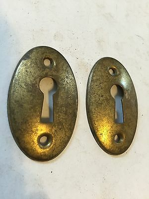 2 Antique Shabby Brass Plate Steel Door Keyhole Escutcheon Rosette Cover Plates